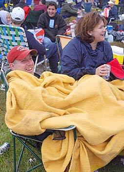 127th Preakness Stakes - Staying warm in the infield