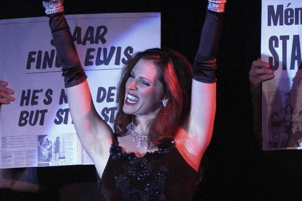 "Leslie Zemeckis performs onstage at the opening night of her burlesque revue act ""Staar"" in Los Angeles in 2005."