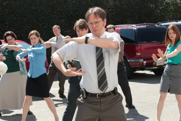 "Dwight Schrute (Rainn Wilson) exercises his employees in the finale of ""The Office."""