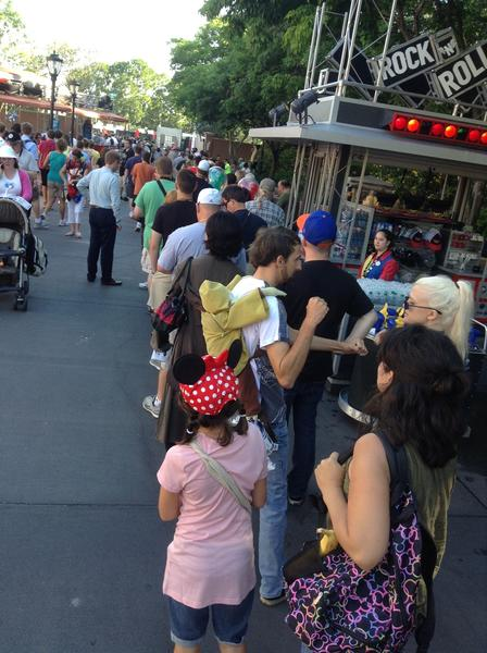 Pictures from Disney's Star Wars Weekends: A line for the merchandise tent called Darths Mall snaked out into the Rock n Roller Coaster plaza on the first day of Star Wars Weekends 2013 at Disneys Hollywood Studios. The wait was said to be three hours early in the day.
