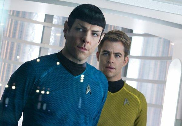 "Zachary Quinto, left, and Chris Pine in ""Star Trek Into Darkness,"" which enjoyed a solid opening Thursday."