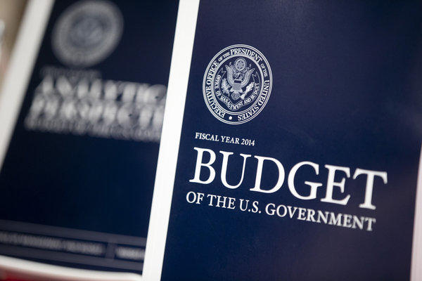 Copies of President Obama's Fiscal Year 2014 Budget sit on display at the U.S. Government Printing Office in Washington.