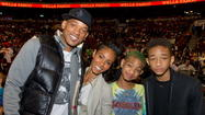 Celebrities Attend The Miami Heat Vs. The Philadelphia 76ers Game At The Wachovia Center