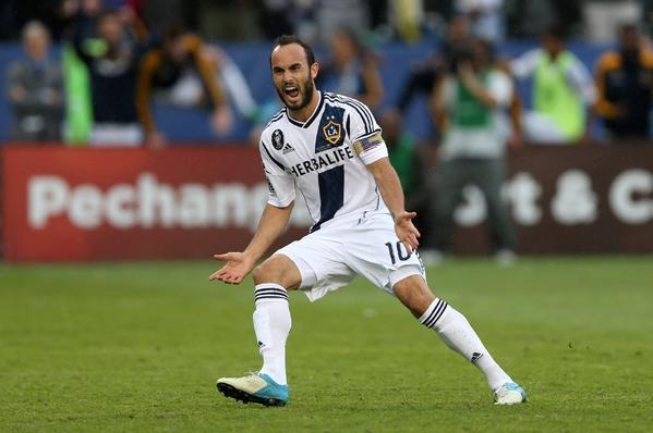 Landon Donovan celebrates during the Galaxy's 3-1 MLS Cup win over the Houston Dynamo on Dec. 1, 2012.