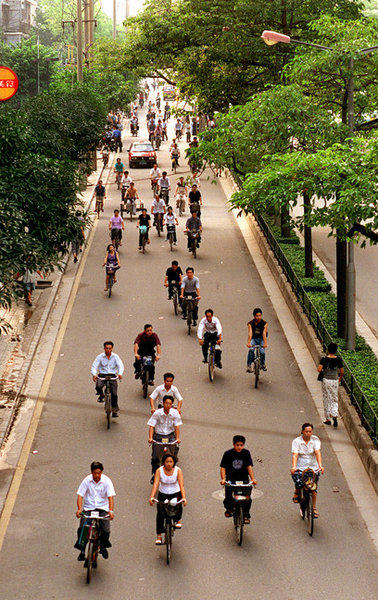 Morning bicycle traffic in Guangzhou, Guangdong Province, China.