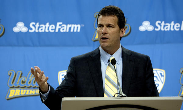 Steve Alford speaks to the media after being introduced as UCLA's new basketball coach last month.