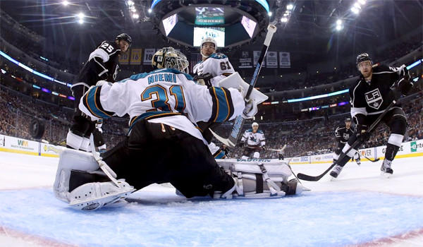 Drew Doughty scores a power-play goal for the Kings in a night L.A. scored three times with the advantage to claim a 4-3 victory over the San Jose Sharks in Game 2 of their playoff matchup on Thursday.