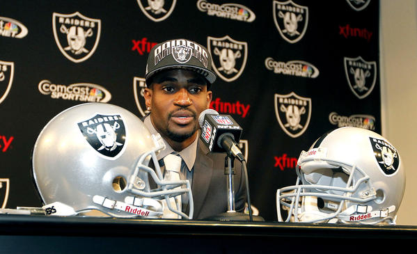 Oakland Raiders cornerback D.J. Hayden speaks during a news conference.