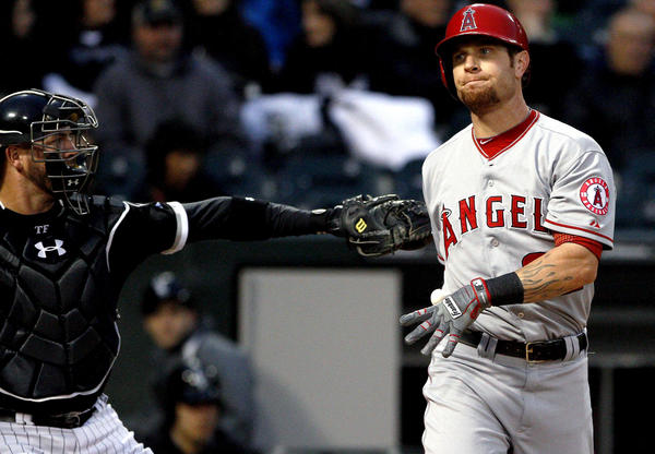 Angels' Josh Hamilton turns away after striking out against the Chicago White Sox.