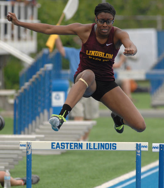 Lindblom's Shamier Little wins her heat of the 300 hurdles at the girls track and field 2A preliminaries.