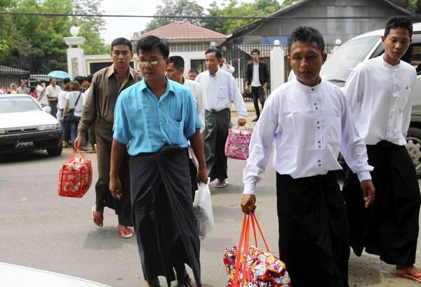Released political prisoners leave Insein prison in Yangon, Myanmar, on Friday.