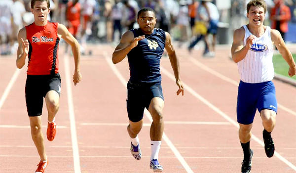 Sherman Oaks Notre Dame's Khalfani Muhammad (center) won the 100-meter dash at the last year's Southern Section Track and Field Championships.