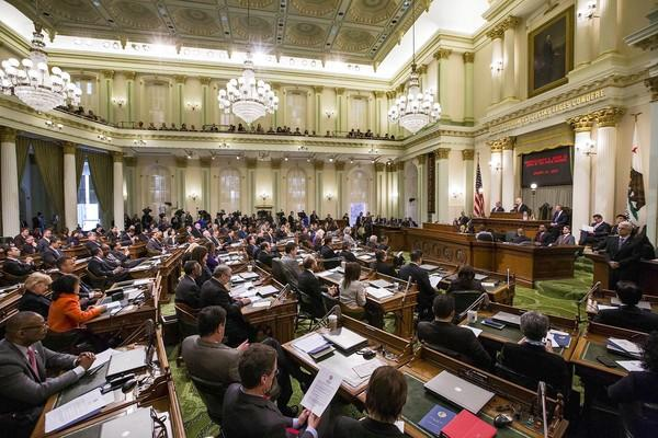 """California Gov. Jerry Brown gives the State of the State address in January at the state Assembly in Sacramento. For Democrats, the state Legislature is far better than Congress, one state senator says, """"if you want to get real, tangible things done."""""""