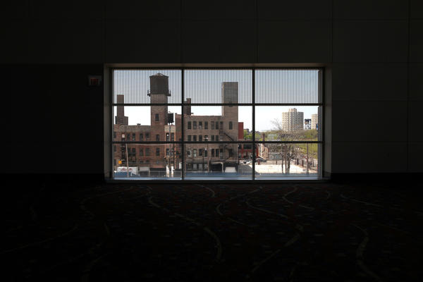 Looking from inside of McCormick Place West across Indiana Ave to the west side of the street which is slated for a new hotel. M