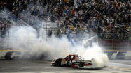 Kyle Busch snapped a seven-race drought on the NASCAR Truck Series by winning Friday night at Charlotte Motor Speedway.