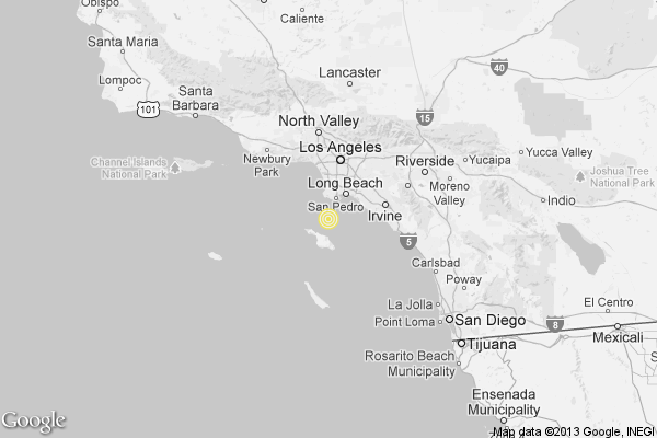 A map shows the approximate location of the epicenter of Saturday morning's quake near Rancho Palos Verdes.
