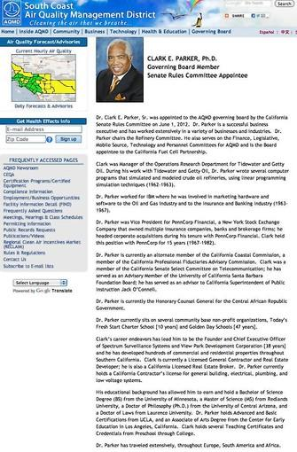 A screen grab of Clark E. Parker's biography on the South Coast Air Quality Management District's website.