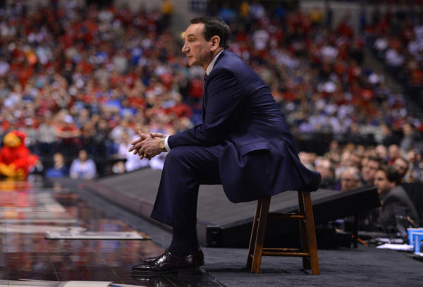 Duke coach Mike Krzyzewski during an NCAA tournament game in Indianapolis.