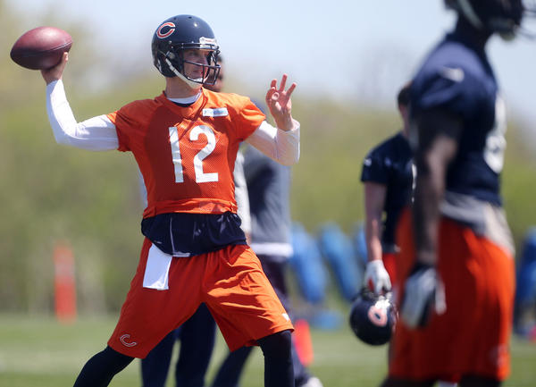 Josh McCown throws during a Bears organized team activity.
