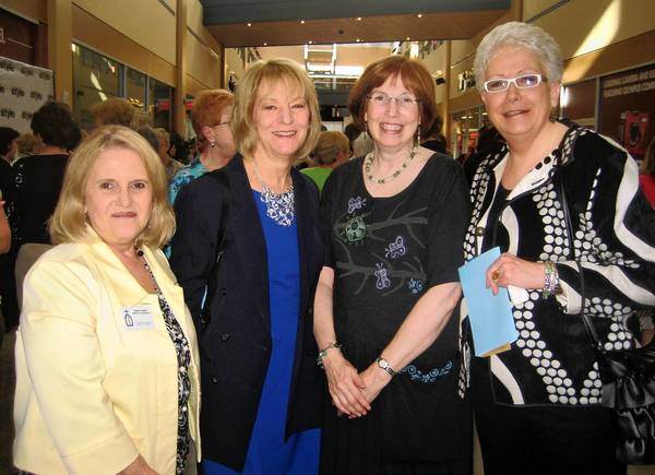 Sandy Gaspar (left), Pat Gorman, Bethlehem Area Public Library Executive Director Janet Fricker and Lynn Klein were among the guests at the sold-out fashion show at The Outlets at Sands Bethlehem April 30, a fundraiser for special projects at the library.