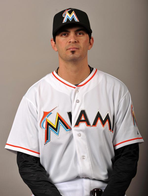 Feb 27 2012, Jupiter, FL, USA: Miami Marlins infielder Gil Velazquez (63) during photo day at Roger Dean Stadium. Mandatory Credit: Photo by Steve Mitchell-US PRESSWIRE.  ORG XMIT: USPW-75782