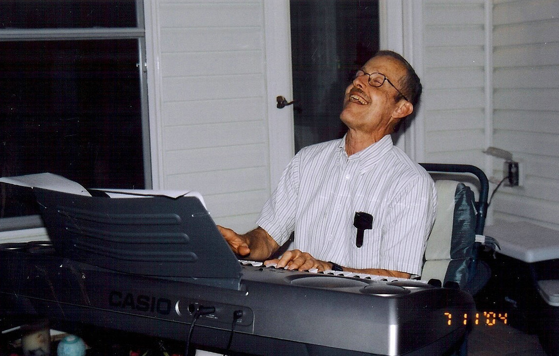 "Bruce Ivins plays the keyboard at a party in 2004. A woman on whom he was fixated -- a Kappa Kappa Gamma sister -- said she found him ""cloyingly nice."""