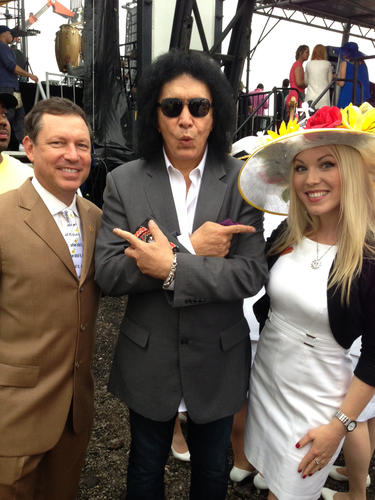 Kiss rocker Gene Simmons with Jim Seay, Premier Rides president, and Sara Ingram, Premier Rides marketing and events director.