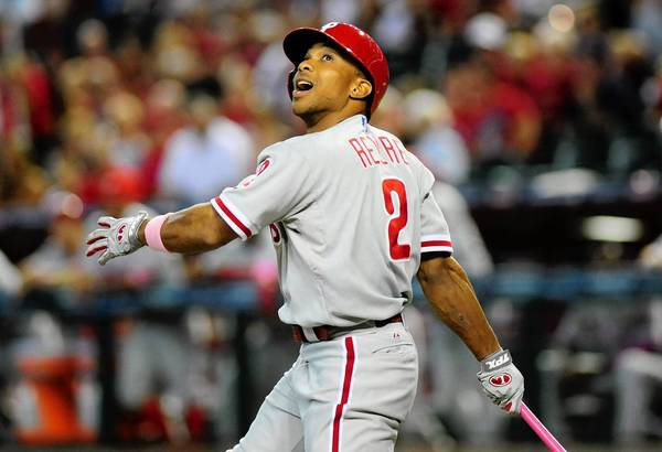 Mar. 12, 2013; Phoenix AZ, USA; Philadelphia Phillies batter Ben Revere watches after he hit a foul ball in the first inning against the Arizona Diamondbacks at Chase Field.