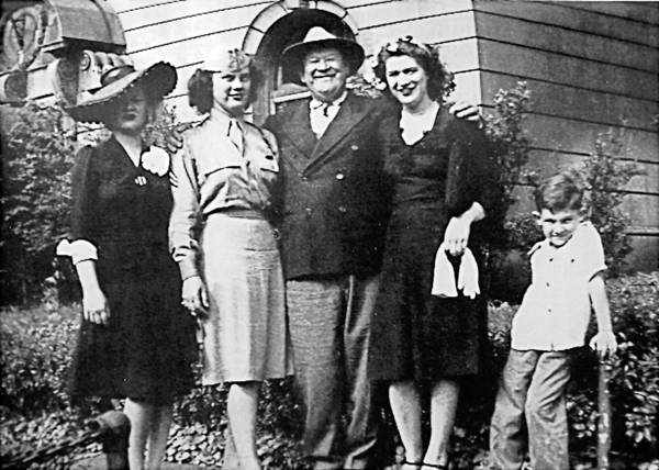 Jim Thorpe, renowned as 'the world's greatest athlete,' posed in the 1940s with his daughters (from left) Charlotte, Grace, and Gail, along with Charlotte's son Michael Koehler, who now is fighting to keep his grandfather's body in the town named for him.