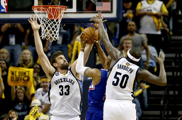 Memphis' Marc Gasol (33) and Zach Randolph have collectively averaged 38 points and 17.2 rebounds in the playoffs.