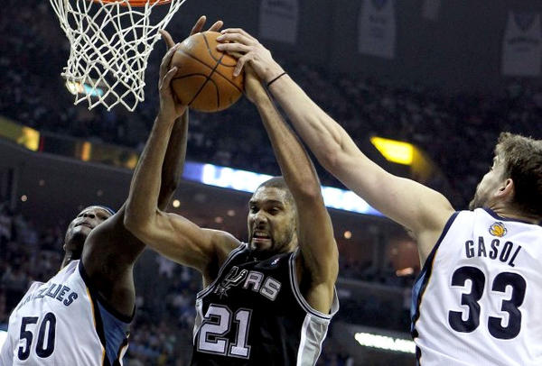 Memphis Grizzlies big men Zach Randolph (50) and Marc Gasol (33) will battle with San Antonio Spurs' Tim Duncan.