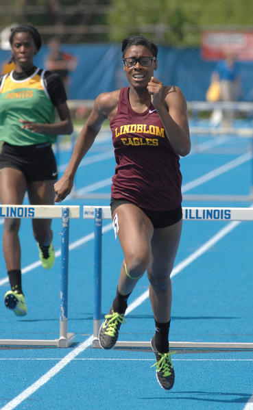 Shamier Little of Lindblom takes second in the Class 2A 300-meter hurdles.