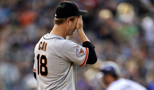 San Francisco starter Matt Cain has a 5.43 ERA and has given up more home runs than anyone in the majors.