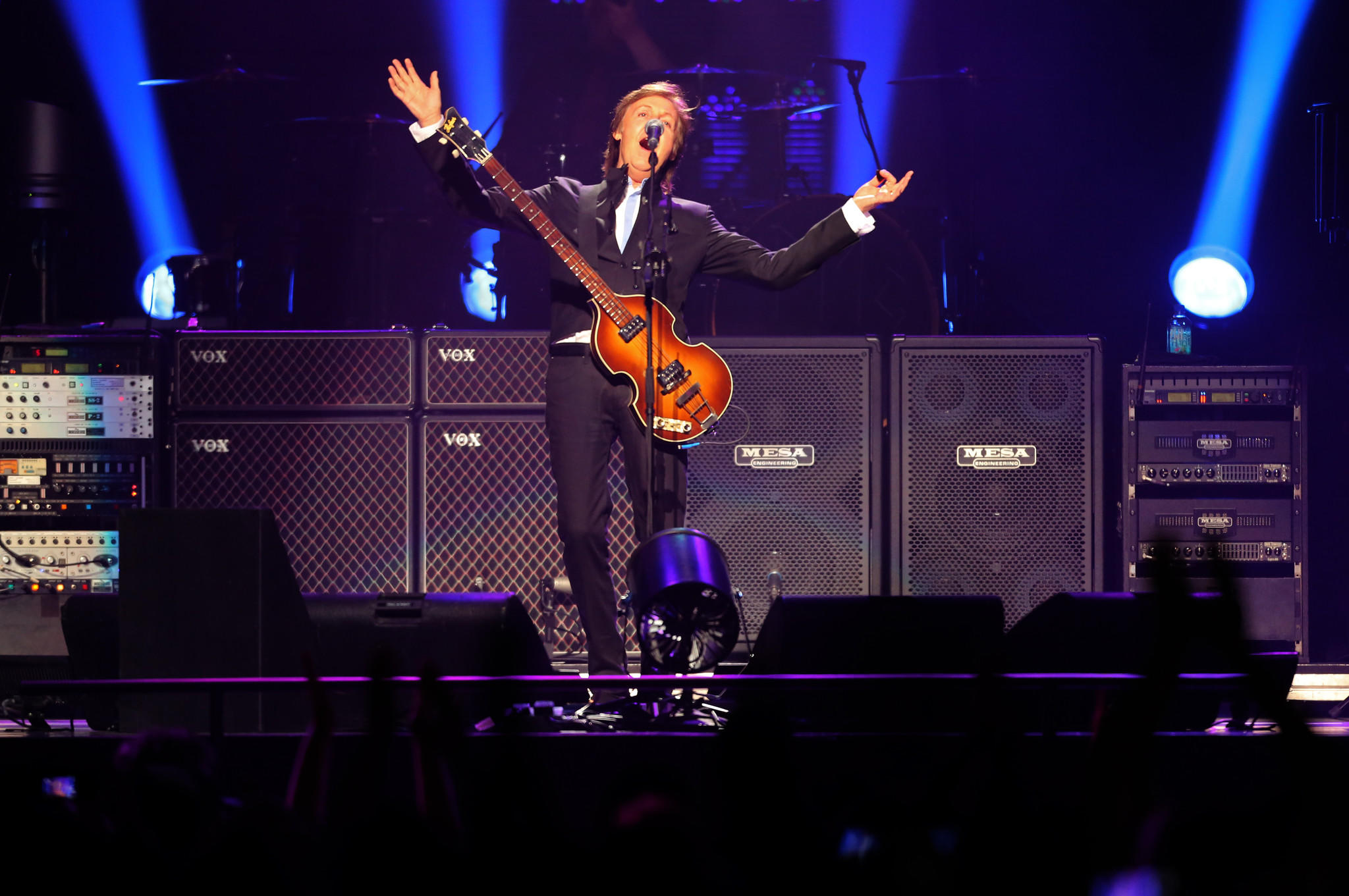 "Paul McCartney sings ""Eight Days a Week"" for his opening song on the first night of his Out There tour at Amway Center in Orlando, Fla. Saturday, May 18, 2013. (Gary W. Green/Orlando Sentinel)"