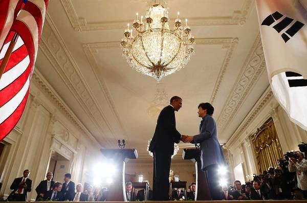 President Obama greets his South Korean counterpart, Park Geun-hye, at the White House this month. Park has not addressed the call in her country to develop nuclear weapons, but the adminstration in Seoul is expressing restlessness with the constraints imposed on it by the Nuclear Non-Proliferation Treaty.
