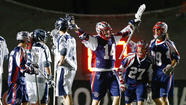 Attackman Ryan Boyle (Gilman) scored 1:26 into overtime to give the Boston Cannons an 15-14 victory over the Chesapeake Bayhawks on Saturday night at Harvard Stadium in Cambridge, Mass.