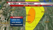 "<span style=""font-size: small;"">Severe storms will once again be possible over central and eastern Kansas for Sunday, including the possibility for hail, high winds, and a few tornadoes.</span>"