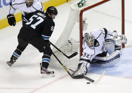 Sharks center Tommy Wingels has his point-blank shot stopped by Kings goaltender Jonathan Quick in the second period of Game 3 on Saturday night at HP Pavilion in San Jose.