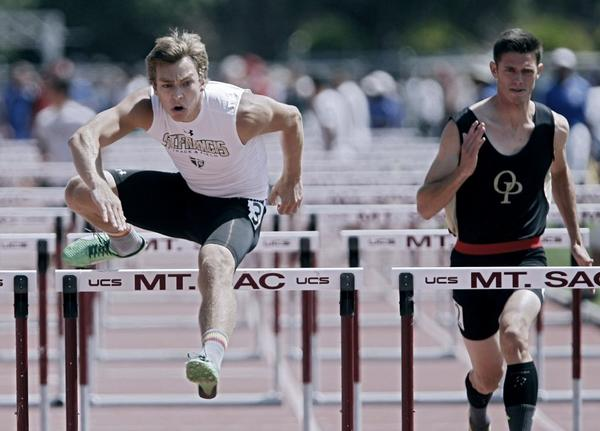 St. Francis hurdler Caleb Simmeth, left, advanced to the CIF Southern Section Masters Meet.