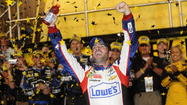 CONCORD, N.C. -- For most of the night, Jimmie Johnson had to watch brothers Kyle Busch and Kurt Busch steal the spotlight.