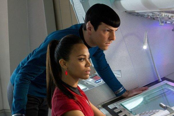 "Zachary Quinto and Zoe Saldana in ""Star Trek Into Darkness,"" which opened atop the weekend box office."