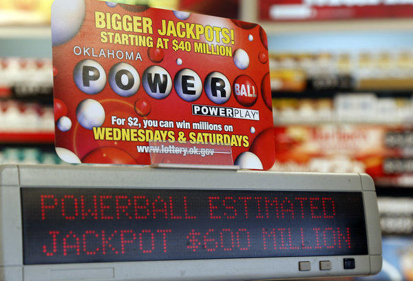 A sign at a store advertises the Powerball Lottery in Oklahoma City.