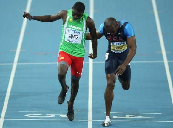 LaShawn Merritt (r) taking second to Kirani James (Chris McGrath / Getty )