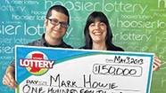 "Mark Howie and his wife, Molly, were recent winners in a Hoosier Lottery scratch-off game called ""Winner Take All."""