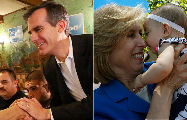 Mayoral candidates Eric Garcetti and Wendy Greuel in their final weekend of campaigning.