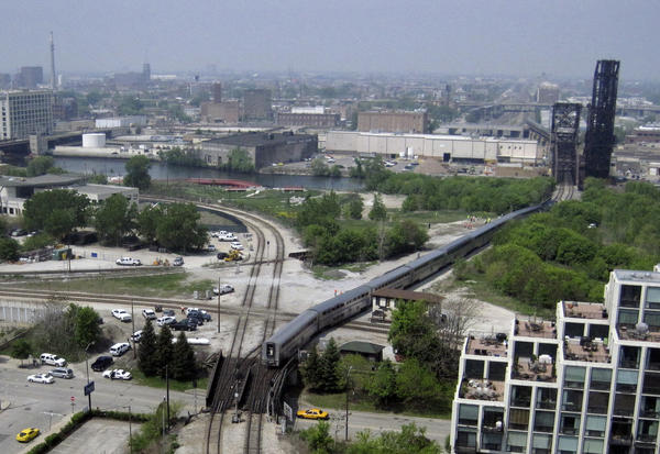 A derailed Amtrak train on the Metra Rock Island line on Sunday, May 19, 2013.