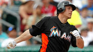 In uniform with the Marlins' Sunday: sidelined first baseman Logan Morrison.