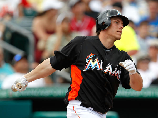 JUPITER, FL - MARCH 13: Logan Morrison #5 of the Miami Marlins bats during a game against the Atlanta Braves at Roger Dean Stadium on March 13, 2012 in Jupiter, Florida.  (Photo by Sarah Glenn/Getty Images) ORG XMIT: 140242506