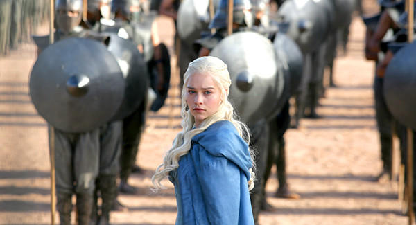 "Daenerys Targaryen (Emilia Clarke) wins the allegiance of the Second Sons mercenary company in ""Game of Thrones"" Episode 28."