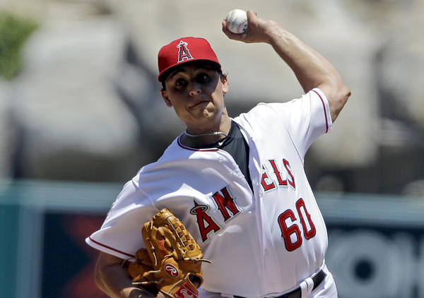 Angels' Jason Vargas pitches to the Chicago White Sox in the first inning.